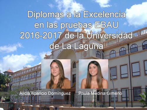Diplomas a la Excelencia académica en las pruebas EBAU de la Universidad de La Laguna