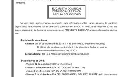 Circular Eucaristía Dominical
