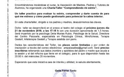 Charla/Taller «Comprendiendo mi estrés» organizado por el AMPA próximo jueves día 21 de noviembre 2019, a las 17:15h