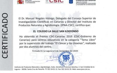 Nuestros alumnos de 2°Bach Samuel Glez. y Patricia Hdez. Premio CSIC Canarias 2019