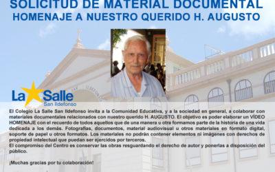 Solicitud de colaboración con materiales documentales relacionados con nuestro querido H. Augusto