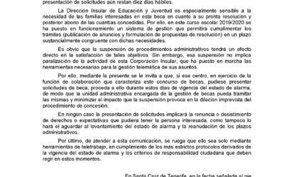 Comunicación del Cabildo Insular de Tenerife en relación al procedimiento de solicitudes de becas de Educación Especial durante el estado de alarma