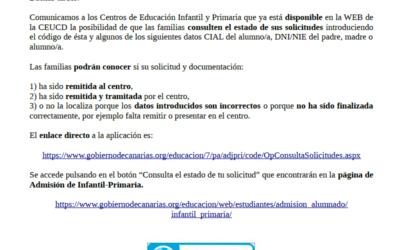 Las familias pueden consultar el estado de sus solicitudes de preinscripción en la Web de la CEUCD