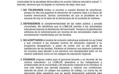 Manifiesto del 22N Más Plurales en la manifestación con Vehículos en más de 30 ciudades por la libertad de enseñanza y la pluralidad