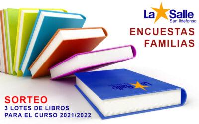 Encuesta de satisfacción de las familias. Sorteo de 3 lotes de libros para el próximo curso 2021/2022