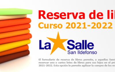Formulario de reserva de libros para el próximo curso 2021/2022